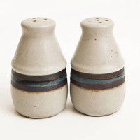Vintage Otagiri Horizon Salt and Pepper Shakers, Hard to Find Handle-less Shaker Set, Blue Stripe Stoneware