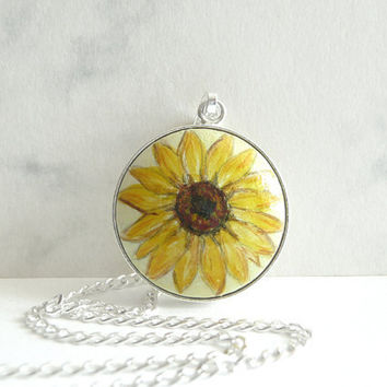 Charming Sunflower Sterling Silver Necklace - 925 Silver Bezel Chain Charm - Hand Painted Pendant - Small Watercolor Painting