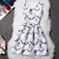 Fashion show thin print sleeveless bubble skirt