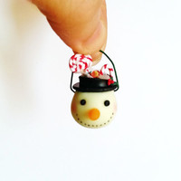 Miniatures Christmas treats snowman bucket glowing in the dark / Christmas sweets scale one inch / dollhouse scale 1:12 miniature Christmas