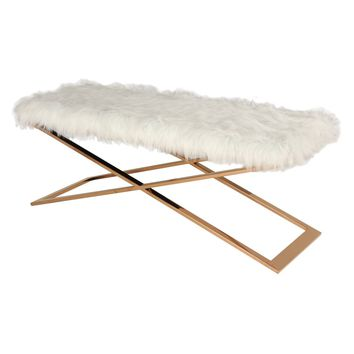 Saticoy Faux Fur Bench WHITE/ROSE GOLD