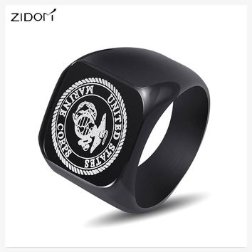 2018 new arrived  Fashion USMC Stainless Steel Ring Men US Army Marine Corps Titanium Punk Biker Ring Charm Jewelry Rings gifts