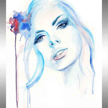 Original Watercolor Painting - Woman Portrait Painting - Blue Face Painting - Aqua Woman Painting - Surreal Aqua Art - Fashion Art