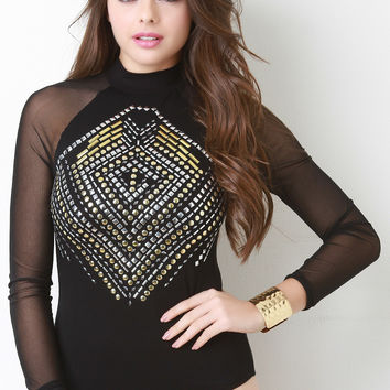 Studded Mock Neck Long Sleeve Bodysuit