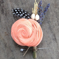 Handmade Wedding Boutonnieres - Coral Sola Shell Flower, Barley Wheat Boutonnieres, Feather, Lavender, Tallow Berries, Hemp Rope, Rustic