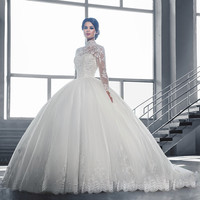 Vnaix W3058 See Though Long Sleeves Lace Ball Gown Wedding Dresses 2016 High Neck IIIusion Lace Back Sweep Train Wedding Gowns