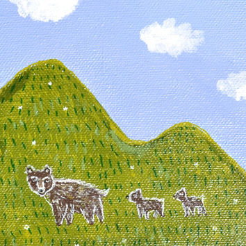 Grizzly Bear with cubs landscape, Small Canvas, Brown Bear family painting, Mountains, Mama Bear art, Mother child nursery, Original art