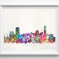 Karachi Skyline Print, Pakistan Print, Karachi Poster, Cityscape, Watercolor Painting, City Skyline, Wall Decor, Christmas Gift