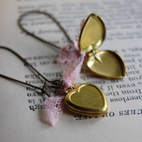 Heart Shaped Locket Earrings by theriveriseverywhere on Etsy