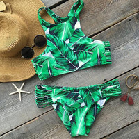 Hot Sexy High Neck Bikini Swimwear Women Swimsuit Brazilian Bikini Set Green Print Halter Top Beach