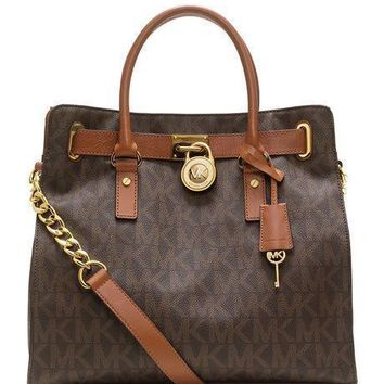 One-nice™ NWT MICHAEL KORS HAMILTON LARGE LOGO MK SIGNATURE BROWN TOTE BAG HANDBAG $358