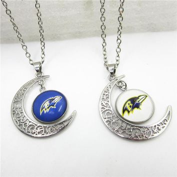 New Arrive 10pcs/lot Moon Baltimore Ravens Necklace Pendant Jewelry With Chains Necklace DIY Jewelry Football Sports Charms