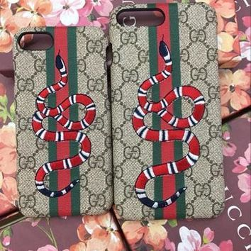 Perfect GUCCI Fashion Print Embroidery iPhone Phone Cover Case For iphone 6 6s 6plus 6