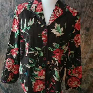 Koret Jacket Women's Plus Size 16W Brown Cotton Floral