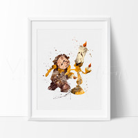 Lumiere & Cogsworth, Beauty and the Beast Watercolor Art Print