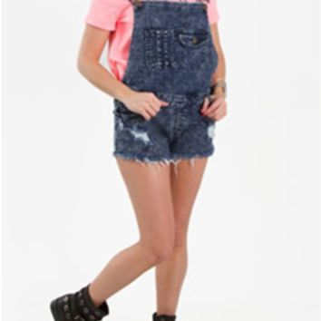 Machine Jeans Acid Wash Short Overalls for Women DMG1A3969