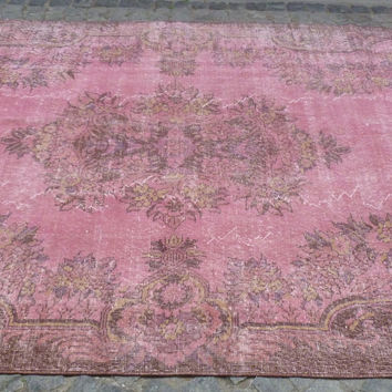 Pretty Shabby Chic Pink overdyed area rug, 10 x 6'