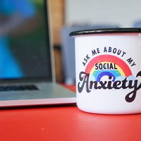 Ask Me About My Social Anxiety Enamel Mug