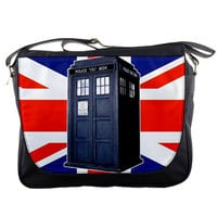 "Doctor Who Tardis Union Jack British Flag 14"" Messenger Laptop Notebook Tablet Computer School Sling Shoulder Bag Handbag Tote Custom Made"