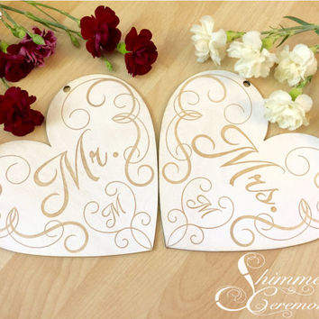 Mr and Mrs signs laser cut engraved wooden wedding hearts hanging rustic white wash custom