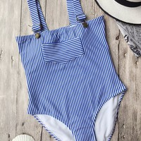 Straps High Cut Striped Swimwear