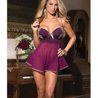 Microfiber & Mesh Babydoll W-underwire Push Up Cups & G-string Plum-tan Sm