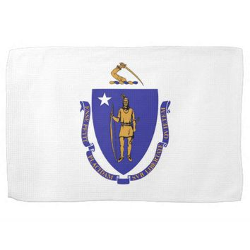Kitchen towel with Flag of Massachusetts, U.S.A.