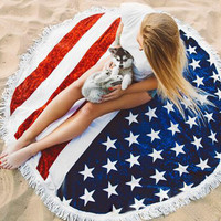 Beach Summer Scarves for Women American Flag Tassels Beach Round Toalla Mandala Tapestry Hippie Throw Roundie Yoga Mat Towel
