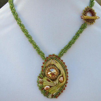 Shibori silk boho necklace beaded bead embroidered swarovski crystal lime green and caramel summer accessory