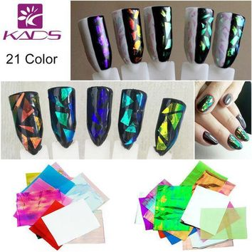 CREYHY3 KADS 21pcs/pack Holographic DIY Nail Art Broken Glass Foil Finger Stencil Decal Sticker 21 Colors Nail Art Mirror Manicure Tool