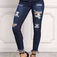 Dark Denim Distressed Frayed Skinny Jeans