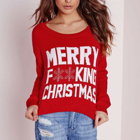 "Red ""Christmas"" Letter Print Long Sleeve T-Shirt"