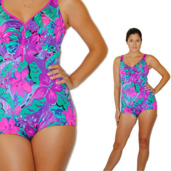 Vintage Swimsuit -- Retro Swim -- Vintage 80s Purple and Green Tropical Swimsuit -- Vintage Bathing Suit -- Spring Fashion -- Summer Fashion