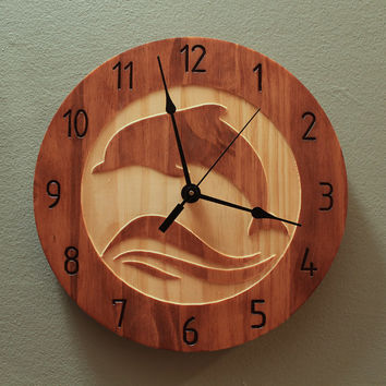 Dolphin clock Animal clock Nature clock Wildlife clock Wood clock Wall clock Wooden wall clock Ocean animal Sea life Water wave Home clock