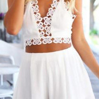 White Halter V Neck Top With Floral Crochet Skirt