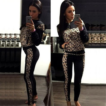 Leopard grain Zipper Top Skinny Pant Casual Two Pieces Set