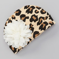 MyLolliflops Tan & Off-White Leopard Chiffon Flower Beanie | Something special every day