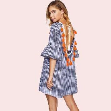 Gingham Drop Waist Dress - China
