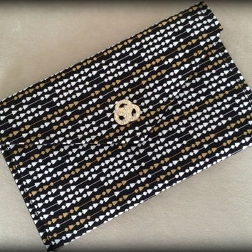 Black and Metallic Gold Envelope Clutch