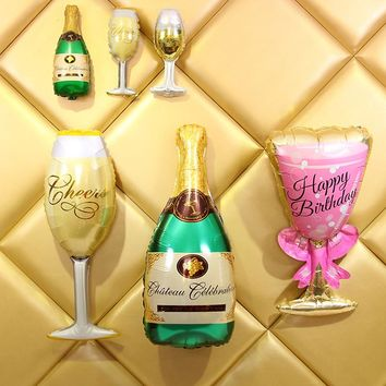 1PC Funny Champagne Foil Balloons Big Size Beer Wedding Party Decoration Happy Birthday Celebration Marriage Decor Accessories