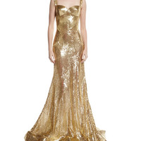 Naeem Khan Sleeveless Sequined Sweetheart Gown