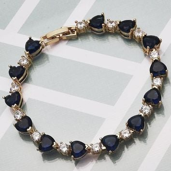 Gold Layered Women Heart Tennis Bracelet, with Sapphire Blue Cubic Zirconia, by Folks Jewelry
