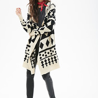 FOREVER 21 Oversized Geo-Striped Cardigan Black/Taupe One