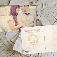"50 Wedding Save The Date Card - BremPark Vintage Photo Personalized 4""x6"""