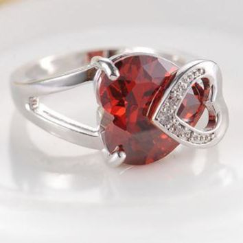Romantic Love - Platinum Plated Heart Shaped Ruby Cocktail Ring