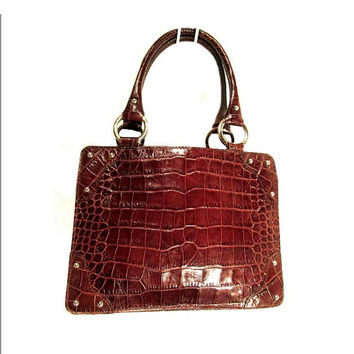 Authentic Vintage NORDSTROM Italy Genuine Cognac Whiskey Brown Crocodile Alligator embossed Leather Structured Studded handbag retro purse