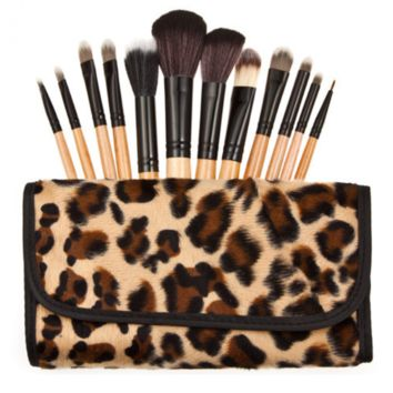 12 pcs Leopard Makeup Brush
