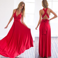 Summer women maxi dress sexy women evening party dress bandage long dress sexy V-neck wrap around design robe longue femme = 5738655745
