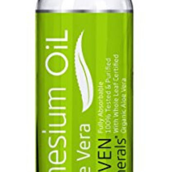 Magnesium Oil with ALOE VERA - LESS ITCHY - Made in USA - FREE E-BOOK - Big 12oz - SEE RESULTS OR MONEY BACK - Cure for Restless Legs, Leg Cramps, Sore Muscles. Get Healthy Hair & Skin, Sleep Better!