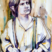 "Bilbo Baggins, The Hobbit watercolor painting print 8"" x 12"" Celebrity Portraits, dragon, The Lord of the Rings,"